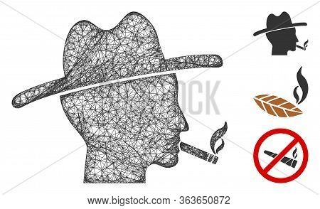 Mesh Cigarette Smoker Polygonal Web Icon Vector Illustration. Model Is Based On Cigarette Smoker Fla