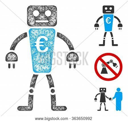 Mesh Euro Robot Polygonal Web Icon Vector Illustration. Model Is Created From Euro Robot Flat Icon.