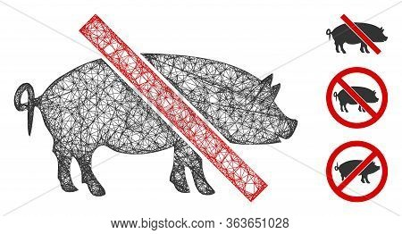Mesh Forbidden Pork Polygonal Web Icon Vector Illustration. Model Is Based On Forbidden Pork Flat Ic
