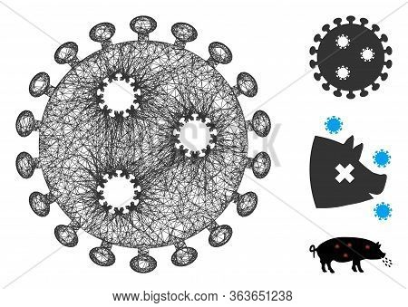 Mesh Influenza Virus Polygonal Web Icon Vector Illustration. Abstraction Is Based On Influenza Virus