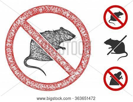 Mesh No Rats Polygonal Web Icon Vector Illustration. Model Is Based On No Rats Flat Icon. Triangle M