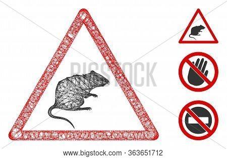 Mesh Rat Warning Polygonal Web Icon Vector Illustration. Carcass Model Is Based On Rat Warning Flat
