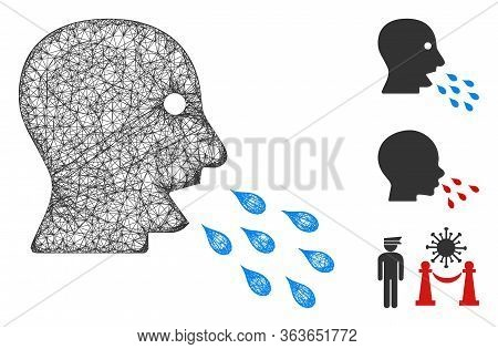 Mesh Respiratory Infection Polygonal Web Icon Vector Illustration. Model Is Based On Respiratory Inf