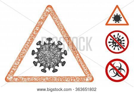 Mesh Sars Virus Warning Polygonal Web Icon Vector Illustration. Carcass Model Is Created From Sars V