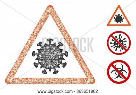 Mesh Sars Virus Warning Polygonal Web Icon Vector Illustration. Carcass Model Is Created From Sars V