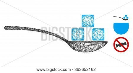 Mesh Sugar Spoon Polygonal Web Icon Vector Illustration. Carcass Model Is Created From Sugar Spoon F