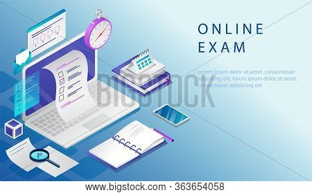 Isometric Concept Of Online Exam, Online Testing, Survey, Questionnaire Form, Online Education. Webs