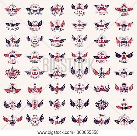 Crowns Vintage Heraldic Emblems Vector Big Set, Antique Heraldry Symbolic Badges And Awards Collecti