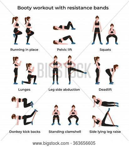 Booty Or Glutes Workout With Resistance Bands. Leg Side Abduction Concept, Lateral Leg Lifts. Stay H