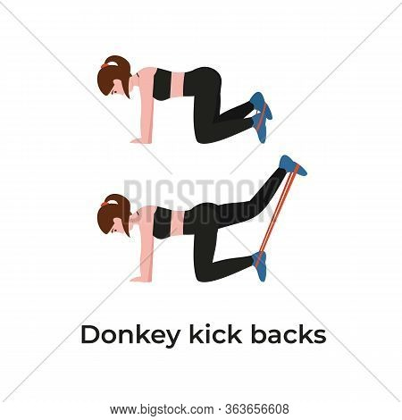 Booty Or Glutes Workout With Resistance Bands. Donkey Kick Backs. Stay Home And Do Sport. Flat Vecto