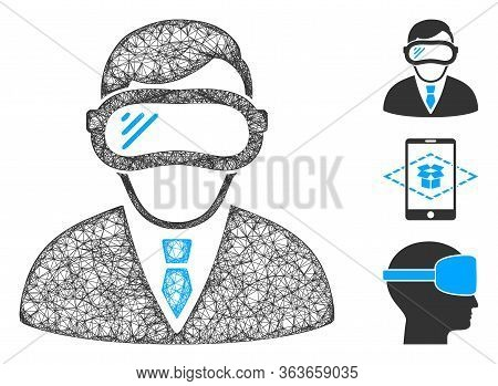 Mesh Augmented Reality Polygonal Web 2d Vector Illustration. Carcass Model Is Based On Augmented Rea