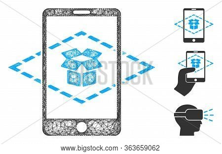 Mesh Augmented Reality Polygonal Web Icon Vector Illustration. Model Is Based On Augmented Reality F