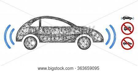 Mesh Autonomous Car Polygonal Web Icon Vector Illustration. Carcass Model Is Based On Autonomous Car
