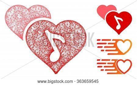 Mesh Romance Polygonal Web Icon Vector Illustration. Model Is Based On Romance Flat Icon. Triangular