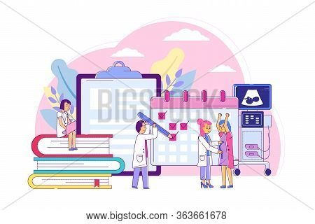 Examination Pregnant Women, Consultation With Specialist Obstetrician Line Vector Illustration. Keep