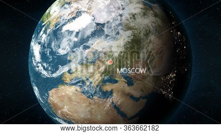 Location Of Moscow, Russia On Globe. 3d Illustration