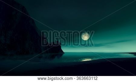 full moon at the ocean with lost castle by night 3D illustration
