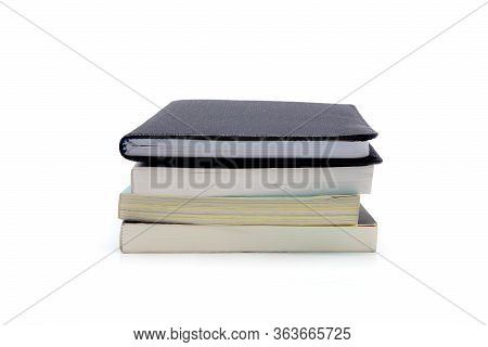 Stack Of Book Isolated On White Background, Notebook And Textbook, Heap Of Stationery And Note, Lear