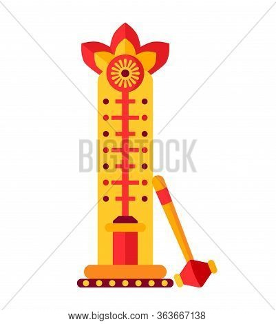 Attraction For Measuring Strength, Test Strength Flat. Cartoon Design Strength Tester. Power And Str