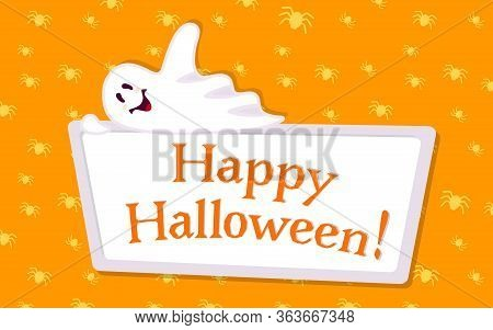 Happy Halloween Empty Banner With Ghost Cartoon. Holiday Spooky Template, Cover Orange Template Blan