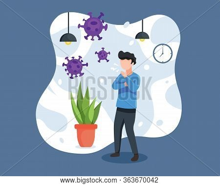 Vector Illustration A Man Cough And Having Cold. Person With Cold, Coughing And Eject A Virus. Flu S