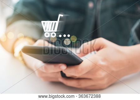 Women Hand Using Smartphone Do Online Selling For People Shopping Online With Chat Box, Cart, Dollar