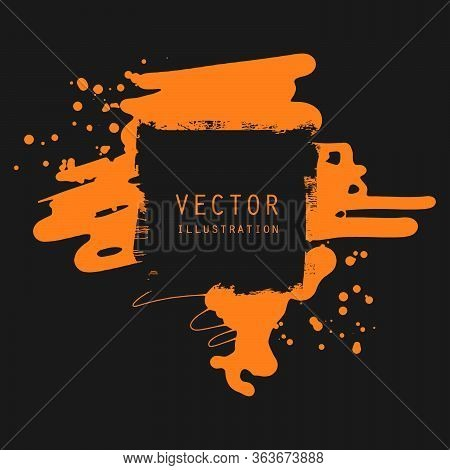 Vector Splats Splashes And Blobs Of Orange Ink Paint In Different Shapes Drips