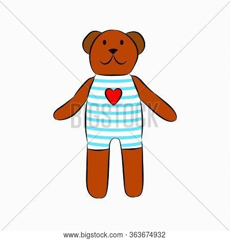 Teddy Bear In A Striped T-shirt. Heart On A T-shirt, Plush Toy. Vector Illustration Of A Plush Toy.