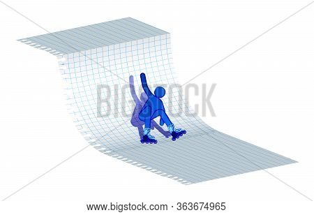 Roller Falls After A Ramp Stunt. Active Lifestyle, Extreme Sport. Imitation Of Ink Drawing On A Note
