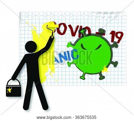 Worker With A Paint Bucket With A Roller Paints Over The Drawings On The Wall, The Words Virus And P