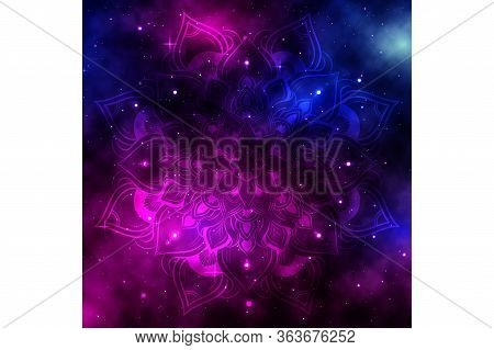 Space Galaxy Background With Shining Stars And Nebula, Vector Cosmos With Colorful Milky Way, Galaxy