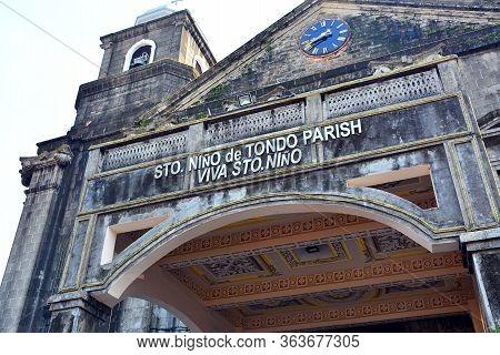 Manila, Ph - Oct. 7 - Santo Nino De Tondo Parish Facade On October 7, 2017 In Tondo, Manila, Philipp