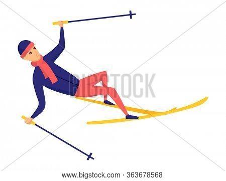 men skier. Male skiing design element isolated on white background. Winter sportsman on ski resort. Winter sport activity. Skier fell from the skis