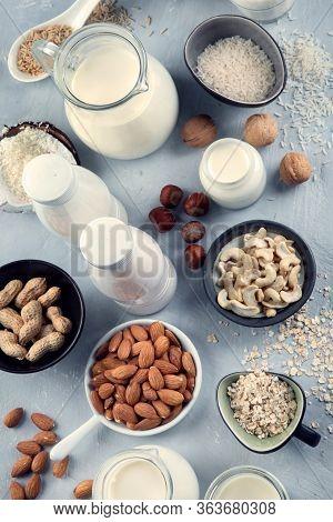 Various Vegan Plant Based Milk And Ingredients.