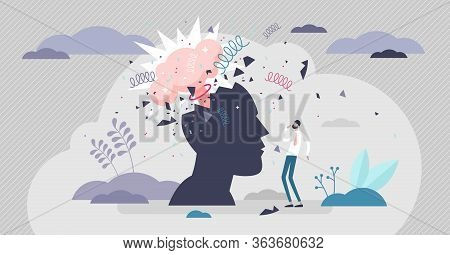 Head Explode Vector Illustration. Mind Blowing Pressure Flat Tiny Person Concept. Abstract Human Sil