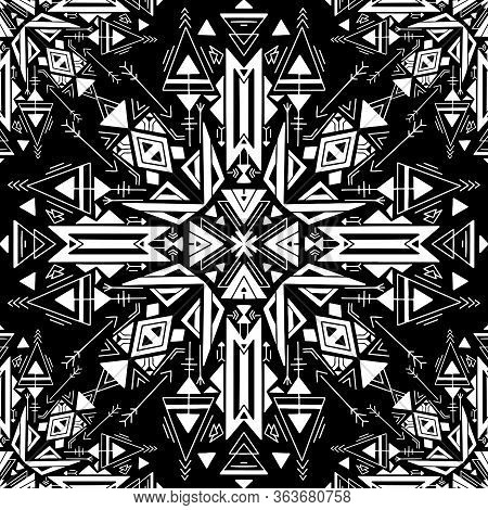 Seamless Tribal Native Texture. White Hand Drawn Tracery Folk Drawing On Black Background. Vector Bo