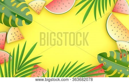 Summer Background, Hello Summer. Tropical Palm Leaves, Monstera,  Watermelon Banners, Template On Ye