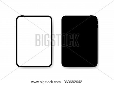 Black Vertical Tablet Computers Mock Up Vector Illustration. Front And Back View Tab Image