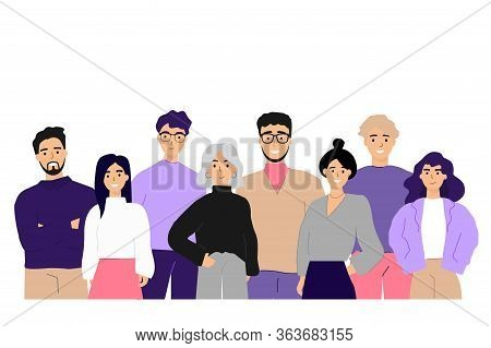 Corporate Portrait Of Office Workers And Employees Flat Vector Illustration. Cartoon Happy Business