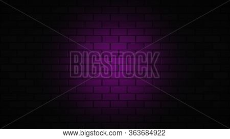 Black Brick Wall With Pink, Purple Neon Light With Copy Space. Lighting Effect Purple Color Glow On