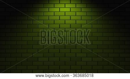 Empty Brick Wall With green Neon Light With Copy Space. Lighting Effect Green Color Glow On Brick W