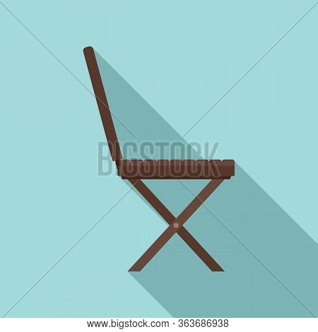 Portable Wood Chair Icon. Flat Illustration Of Portable Wood Chair Vector Icon For Web Design