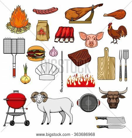 Barbecue Grill Meat Food And Grill Picnic Equipment Items, Vector Icons. Bbq Charcoal And Fire, Beef