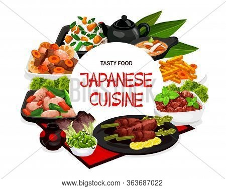 Japanese Cuisine Food And Authentic Dishes, Vector Restaurant Menu Cover. Japanese Traditional Chick
