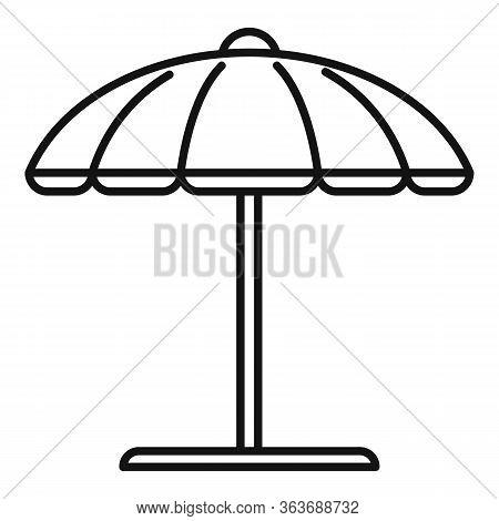 Beach Umbrella Icon. Outline Beach Umbrella Vector Icon For Web Design Isolated On White Background