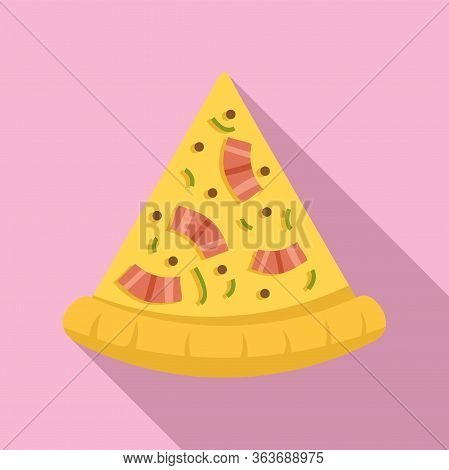 Baked Pizza Slice Icon. Flat Illustration Of Baked Pizza Slice Vector Icon For Web Design