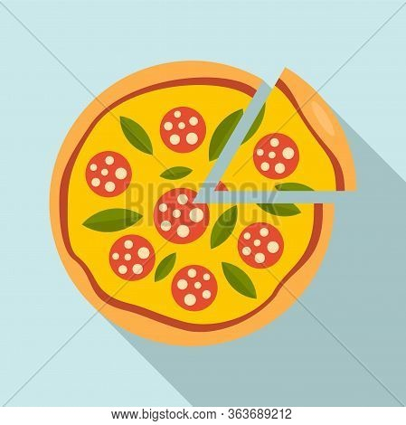 Slice Sausage Pizza Icon. Flat Illustration Of Slice Sausage Pizza Vector Icon For Web Design