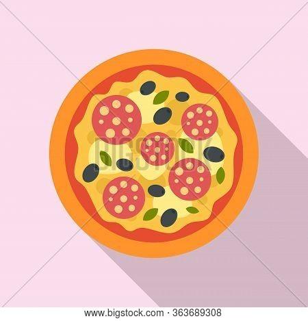 Olive Italian Pizza Icon. Flat Illustration Of Olive Italian Pizza Vector Icon For Web Design