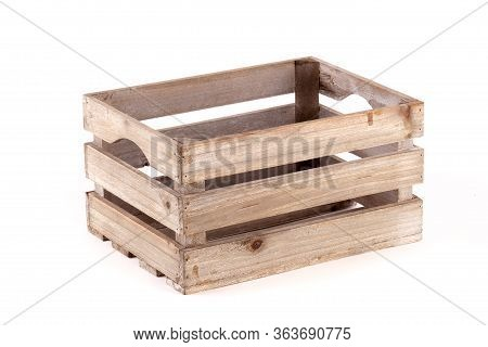 Small Wooden Box Crate Used For Fruit Or Vegetables On A Farm Or Shop. Slatted Pine Crate Isolated O
