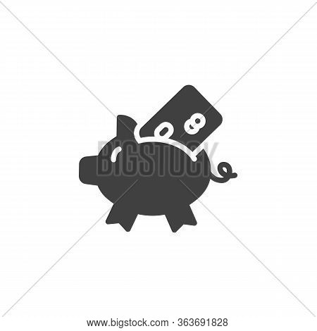 Piggy Bank With Credit Card Vector Icon. Filled Flat Sign For Mobile Concept And Web Design. Bank Ca